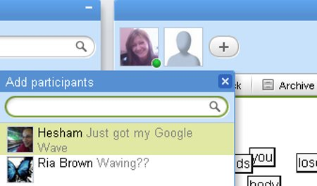 google-wave-add-a-contact-to-a-wave-screenshot