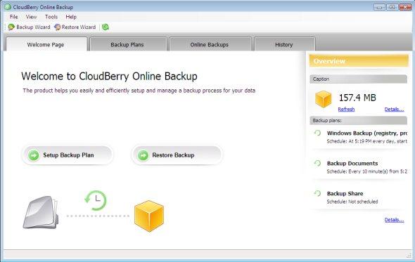 cloudberry-online-backup-screenshot-front-screen