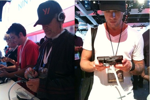 e3-celebrities-steven-spielberg-ryan-philippe-playing-video-games