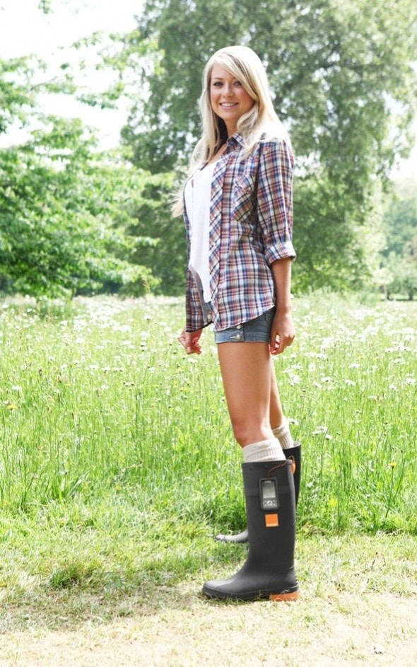 orange-power-wellies-mobile-phone-charger-glastonbury-festival-season-girl-standing