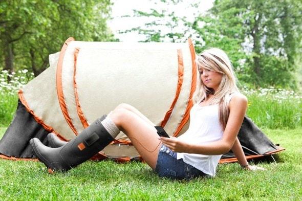 orange-power-wellies-mobile-phone-charger-glastonbury-festival-season-girl-tent