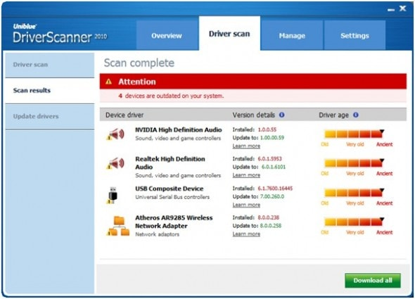 uniblue-power-suite-2010-driver-scan-screenshot