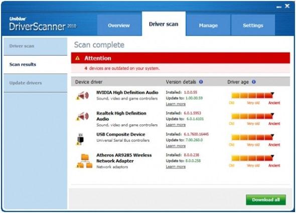 uniblue-power-suite-2010-driver-scan-screenshot