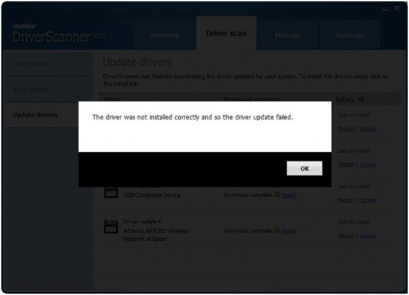 uniblue-power-suite-2010-driver-update-fail-screenshot