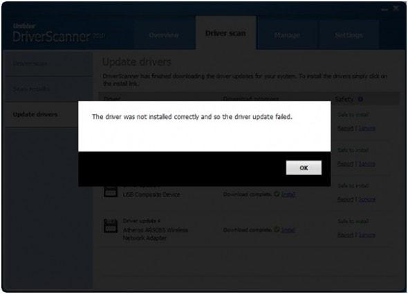 uniblue-power-suite-2010-driver-update-fail-screenshot