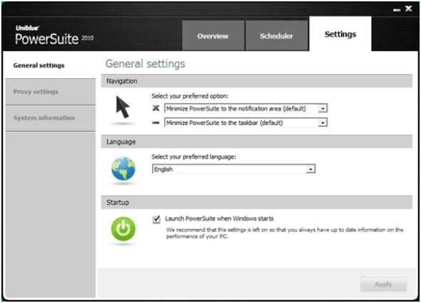 uniblue-power-suite-2010-settings-screenshot