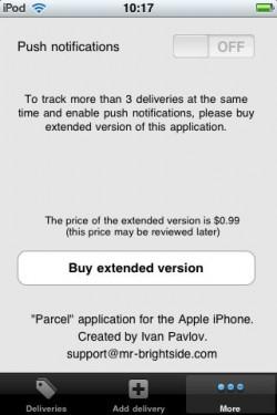 Parcel iOS More