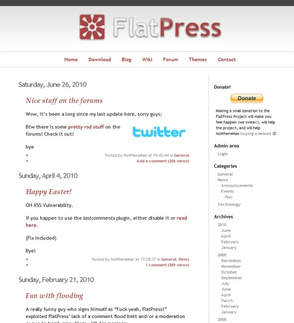 flatpress-blogging-platform-blog-screenshot