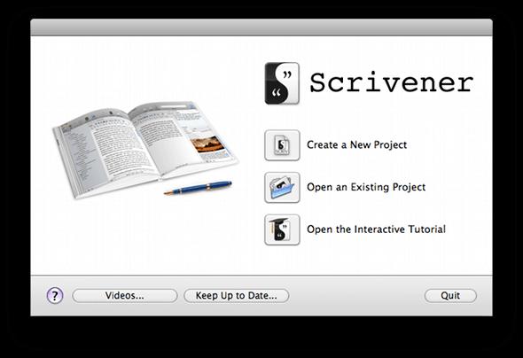 scrivener menu screen