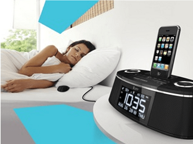 iluv-imm178dab-dual-alarm-clock-iphone-ipod-bed shaker-bedroom-scene