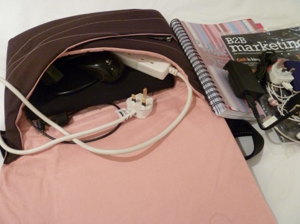 Girl geek gadgets inside the Brenthaven Elite Sleeve laptop bag