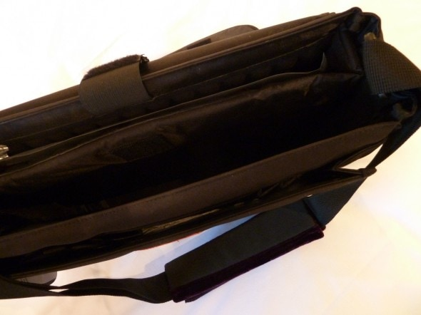 Inside the messenger laptop bag